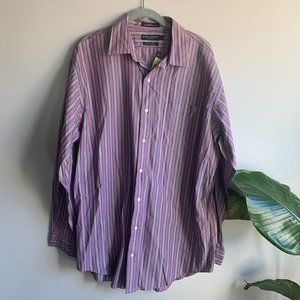 Daniel Cremieux Purple and Green Striped Button Up